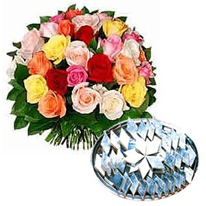 Kaju Barfi with Two Dozen Mixed Roses