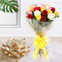 Aromatic 24 Mixed Roses Bouquet with Assorted 1 Kg. Kaju Barfi