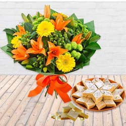 Delectable Kaju Barfi and Seasonal Flower Bouquet