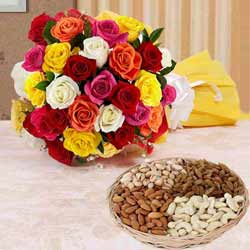 Assorted Roses N Mixed Dry Fruits