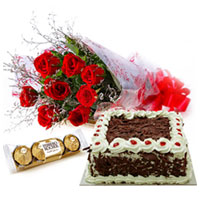 Fluffy Cake, Glorious Red Rose Bouquet and Lip-Smacking Ferrero Chocolates