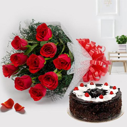 Charming Red Roses with Black Forest Cake