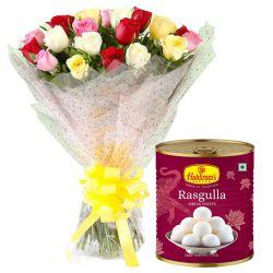 Birthday Special Haldiram Rasgulla with Pretty Mixed Roses