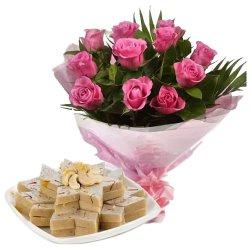 Happy Birthday Exotic Pink Roses with Tasty Kaju Katli