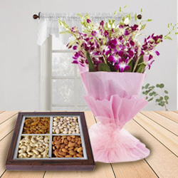 Stunning Orchids Bouquet N Beautifully Packed Dry Fruit to Wish Happy Birthday