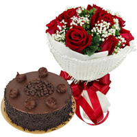 Happy Birthday Surprise Combo of Red Rose Bouquet N Chocolate Cake
