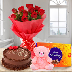 Delightful Birthday Arrangement of Red Rose Bouquet, Chocolate Cake, Small Teddy with Cadbury Celebration