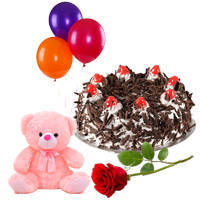 Birthday Precious Single Rose with Delectable Black Forest Cake, Teddy N Balloons