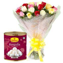 Anniversary Magic Mixed Roses Bunch and Haldiram Rasgulla