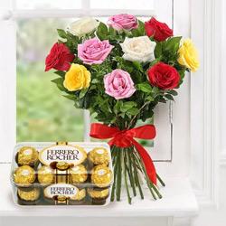Anniversary Combo of Mixed Roses and Ferrero Rocher