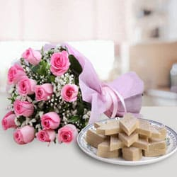 Anniversary Exotic Pink Roses Bunch with Tasty Kaju Katli