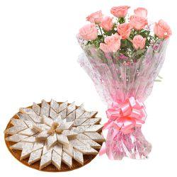 Anniversary Exotic Pink Roses Bunch with Tasty Kaju Katli