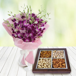 Anniversary Striking Orchids Bouquet with Dry Fruits