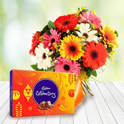 Made for Each Other Combo of Cadbury Celebration with Mixed Gerbera Bouquet