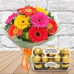 Freshly Picked Mixed Gerbera Bouquet with Luxurious Ferrero Rocher Chocolates