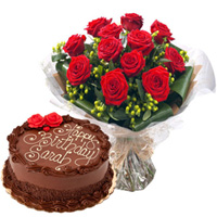 Enjoyable Anniversary Chocolate Cake with Exquisite Red Rose Bouquet