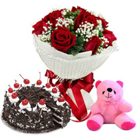 Anniversary Cheer Red Rose Bouquet, Black Forest Cake and Small Teddy