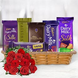 Gift Basket of Cadbury Chocolates with Red Roses