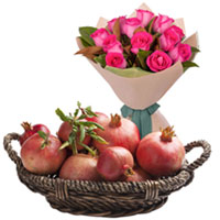 Exotic Selection of Pink Roses Bouquet with Juicy Pomegranates Basket