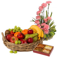 Memorable Present of Pink Carnations Basket with Fresh Fruits Basket and Assorted Dry Fruits