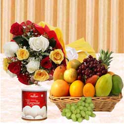 Delicious Haldiram Rasgulla and Mixed Fruits Basket with Bunch of Roses