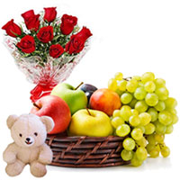 Classic Combo Pack of Cute Teddy with Aromatic Red Roses Arrangement and Fruits Basket