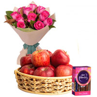 Beautiful Pink Roses with Apples Basket and Cadbury Dairy Milk Celebration