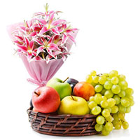 Colorful Lilies Bouquet with Fresh Fruits Baskets