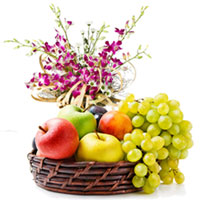 Beautiful Orchid Bouquet with Orchard-Fresh Fruits Basket