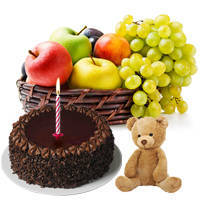 Delectable Chocolate Cake with Fruits Basket, Teddy and Candles
