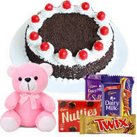 Luscious 1 Lb Black Forest Cake with Assorted Cadburys Chocolate and a Small Teddy