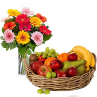 Beautiful Bunch of Mixed Gerberas in a vase with Large Basket of Fresh Fruits