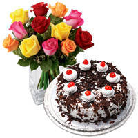 Special Mixed Roses with Black Forest Cake from Taj or 5 Star Bakery