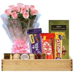 Glorious Bunch of Pink Roses with Cadbury Chocolates