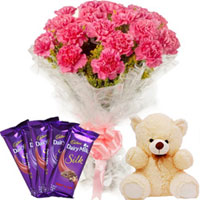 Graceful Arrangement of Carnations with Teddy N Chocolates