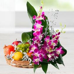Attractive Flowers N Mixed Fruits Basket