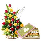 Mixed Roses N Delectable Assorted Sweets