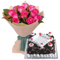Bright Pink Roses Bunch with Black Forest Cake
