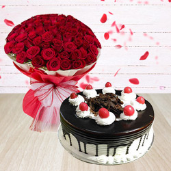 Delicate Red Roses Arrangement with Black Forest Cake