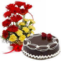 Arrangement of Carnations N Gerberas with Chocolate Cake