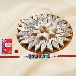 Graceful Combo of Kaju Katli and Fantastic Rakhi