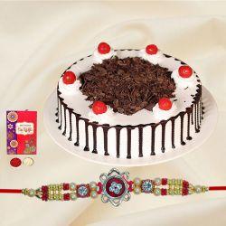 Delicious Black Forest Cake with Amazing Rakhi