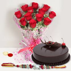 Enthralling Gift of Tempting Eggless Cake along with Beautiful Bouquet of 12 Red Roses