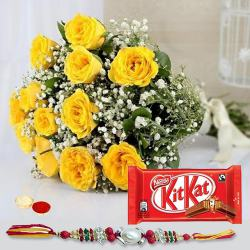 Amazing Gift of Delicious Kitkat Chocolate along with a Bunch of 12 Fresh Yellow Roses