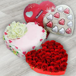 Hamper of Red Roses with Heart Shaped Chocolate Box N Heart Shaped Cake
