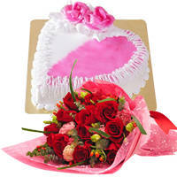 Heavenly Red Dutch Roses Bouquet with Heart Shaped Cake