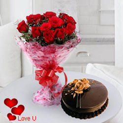 12 Exclusive <font color =#FF0000> Dutch Red </font>   Roses  with Taj / 5 Star Bakery Cake 1 Kg from 5 star Hotel Bakery <br> (Limited Cities)
