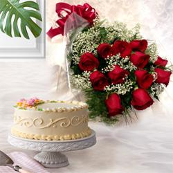 Dynamic 12 Dutch Red Roses with 1 Kg Eggless Cake