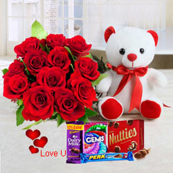Dutch Red Roses, Huggable 12 inch Teddy Bear n Chocolates