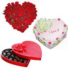 Precious 24 Red Roses with 1/2 Kg Heart Shaped Cake and Heart Shaped Chocolate Box